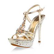Patent Leather Stiletto Party/Evening Sandals With Rhinestones