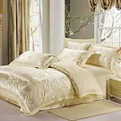 4-Piece Beige Rose Jacquard Cotton Duvet Cover Set