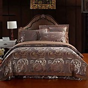 4-Piece Coffee Floral Jacquard Cotton Duvet Cover Set