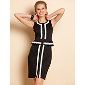 TS Contrast Color Ruffle At Waist Jersey Dress