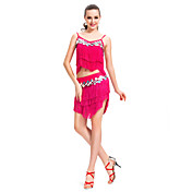 Performance Dancewear Cotton and Polyester with Sequins/Tassels Latin Dance Top and Skirt For Ladies More Colors