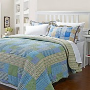 3-Piece Zoe Multi Color Plaid Cotton Queen Quilt Set