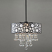 60W Modern Crystal Beaded Pendant Light with 4 Lights and Black-White Drum Shade