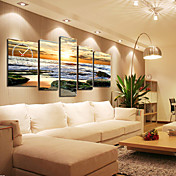Modern Seascape Wall Clock in Canvas 5pcs K0090