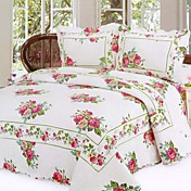 3 PCS Country Rose Washed Cotton Quilt Set