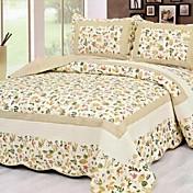 3-Piece Beige Floral Washed Cotton Quilt Set