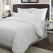 3-Piece 250TC Hobro Woven Cotton Sateen Stripe Duvet Cover Set