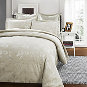 3-Piece Pedro Leaf Jacquard Duvet Cover Set Button Close