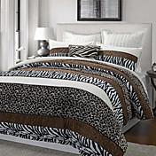 3-Piece Aarhus Leopard/Zebra Stripe Poly Velvet Duvet Cover Set