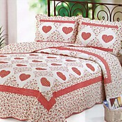 3-Piece Red Heart Floral Washed Cotton Quilt Set