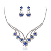 Gorgeous Rhinestones Wedding Bridal Jewelry Set, Including Necklace, Earrings