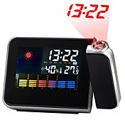 Weather Station Digital Alarm Clock Calendar Thermometer Hygrometer Time Projector (Black, 2xAAA) #