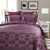 3-Piece Ponta Purple Jacquard Duvet Cover Set