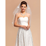 Elagant Two-tier Elbow Wedding Veils With Cut Edge