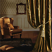 (Two Panels) Gold Floral Jacquard Energy Saving Curtains