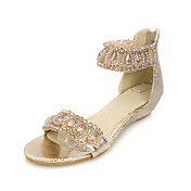 Chic Leatherette Wedge Heel Sandals With Beading Party / Evening Shoes (More Colors)