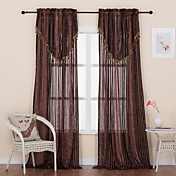 (Two Panels) Traditional Jacquard Stripe Sheer Curtains With Valance