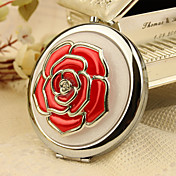 Red Rose On Chrome Mirror Compact Wedding Favor