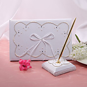 Elegant Wedding Guestbook And Pen Set With Fuax Pearl