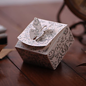 Glistening Silver Favor Box With Butterfly Top (Set of 12)