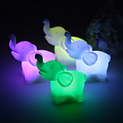 Lovely Vinyl Elephant LED Lamp - Set of 4 (Color Changing, Built-in Botton Cell)