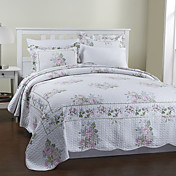 3-Piece Rose Pattern Cotton Queen Quilt Set