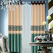 Chenille Modern Polyester Energy Saving Curtains (Two Panels)