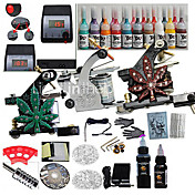 3 Guns Tattoo Kits with Dual Output LCD Power and 20 Color Ink+2 Black Ink
