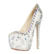 Gorgeous Patent Leather Pearl And Rhinestones Stiletto Heel Closed Toe Pumps Party / Evening Shoes