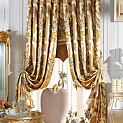 (One Panel) Traditional Jacquard Floral Magnificent Faux Silk Energy Saving Curtain