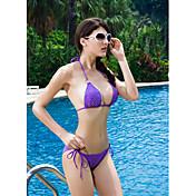 Violet Sweet Push-up Halter RhinestonesTop Bikini