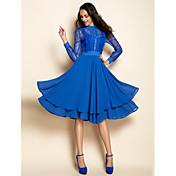 TS VINTAGE Lace Chiffon Midi Dress