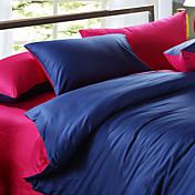 4-Piece Blue & Fuschia Print Cotton Duvet Cover Set