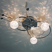 30W Artistic Modern Flush Mount with 3 Lights and 3 Spring Globe Shades in Violin Feature