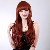 Capless Long Red Curly High Quality Synthetic Full Bang Wings