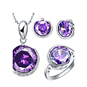 Fine 18K Gorgeous Rhinestone With Purple Crystal Plated Women's Including Pendant Earrings Rings