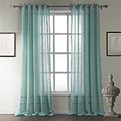 (Two Panels) Classic Cotton Stripe Sheer Curtain