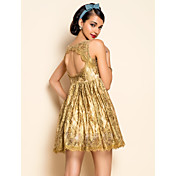 TS Gold Lace Backless Swing Dress