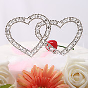 Vintage Elegance Rhinestone Double Hearts Wedding Cake Topper