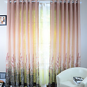 (Two Panels) Champagne Flowers Sheer Curtains