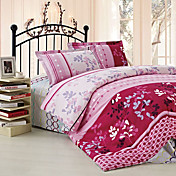 JAJEMON Leaf Cotton Floral Print Soft Bedding (4 Pieces Set) 200*230(1.5kg)