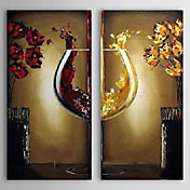 Hand Painted Oil Painting Still Life Wine Glass with Stretched Frame Set of 2 1306-LS0336