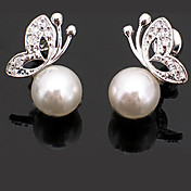 Lixing Women's Simple Style Pearl Pattern Stud With Diamond Decorating Earrings E0159