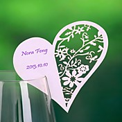 Heart Haped Hollow-out Place Card For Wine Glass Card (Set of 12)