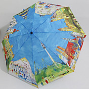 Love City Painting Country Views Automatic Folding Umbrella