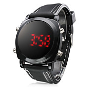 Unisex Red LED Digital Round Dial Black Silicone Band Wrist Watch