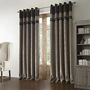 (One Panel) Barroco Jacquard Geometric Polyester Cotton Blend Energy Saving Curtain