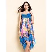 TS Flora Print Chiffon Strap Midi Dress