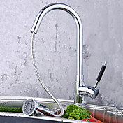 Solid Brass Pull Down Kitchen Faucet (Chrome Finish)