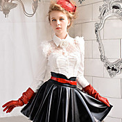 Pink Doll Elegant Palace Pointed Collar Ruffled Mesh Splicing Shirt